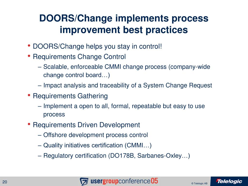 DOORS/Change implements process improvement best practices