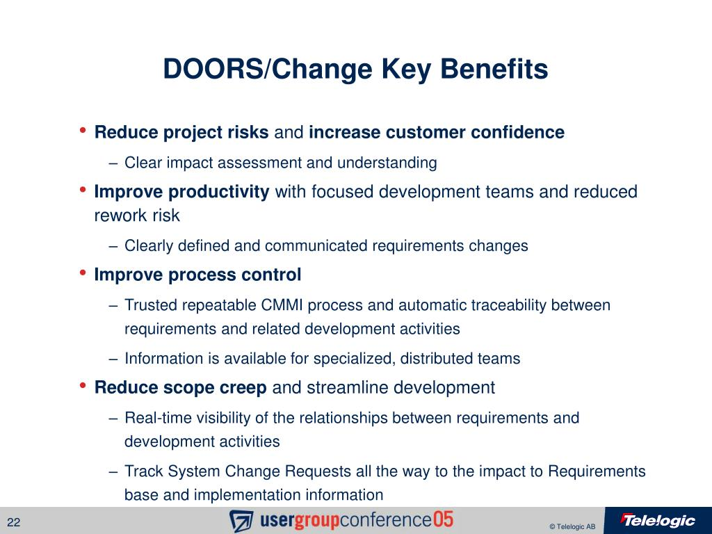 DOORS/Change Key Benefits