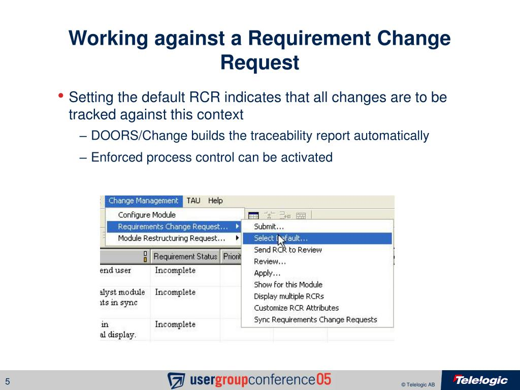 Working against a Requirement Change Request
