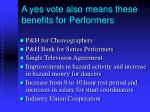a yes vote also means these benefits for performers