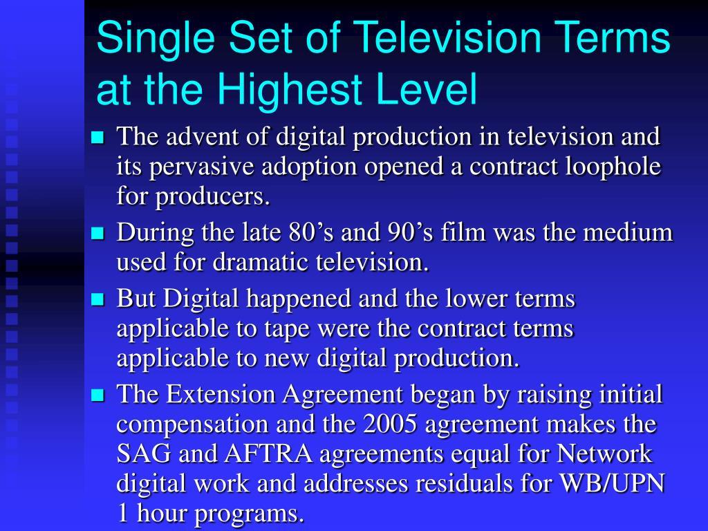 Single Set of Television Terms at the Highest Level