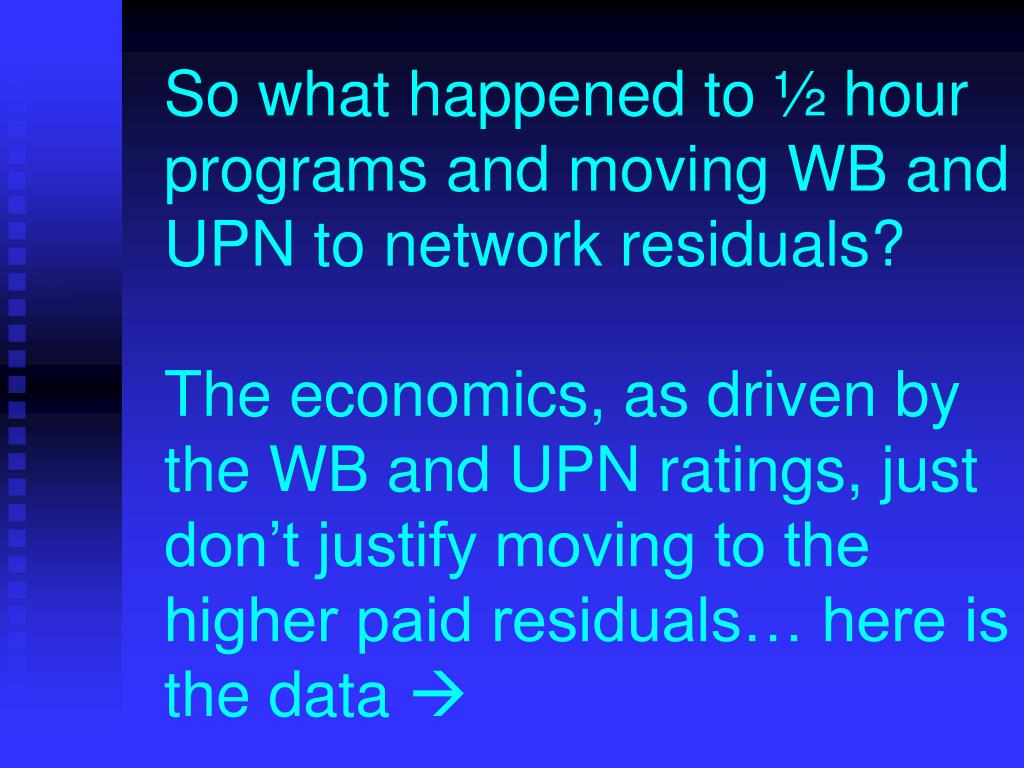 So what happened to ½ hour programs and moving WB and UPN to network residuals?