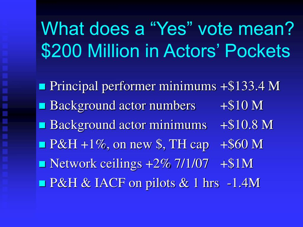 """What does a """"Yes"""" vote mean? $200 Million in Actors' Pockets"""
