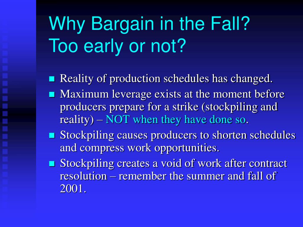 Why Bargain in the Fall?