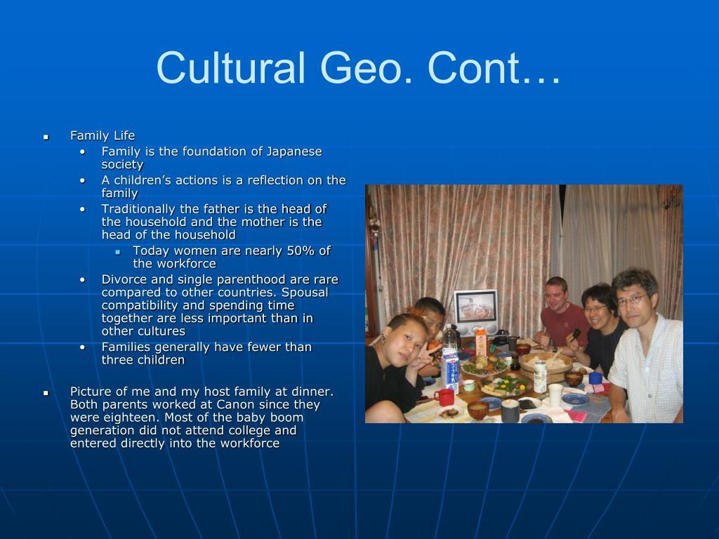 Cultural Geo. Cont…