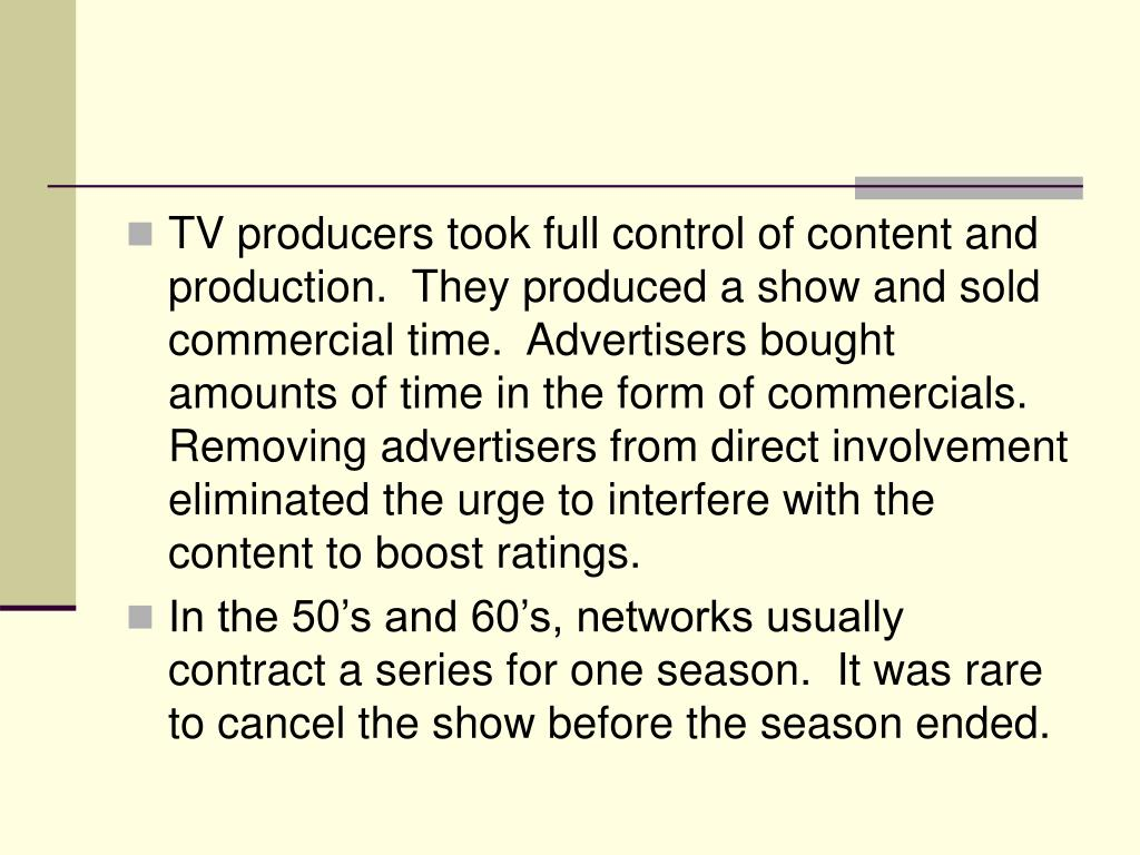 TV producers took full control of content and production.  They produced a show and sold commercial time.  Advertisers bought amounts of time in the form of commercials.  Removing advertisers from direct involvement eliminated the urge to interfere with the content to boost ratings.