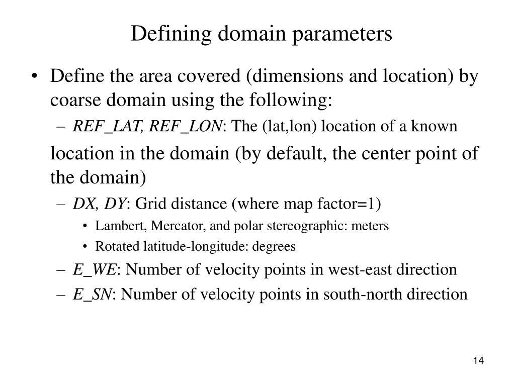 Defining domain parameters