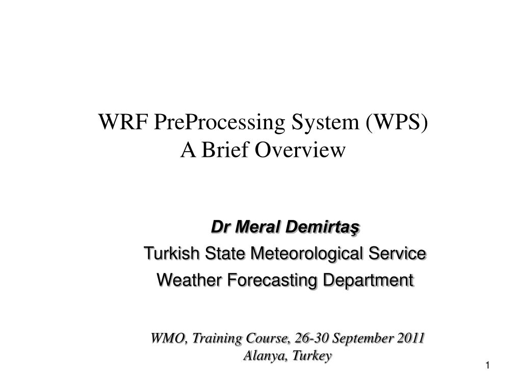 WRF PreProcessing System (WPS)