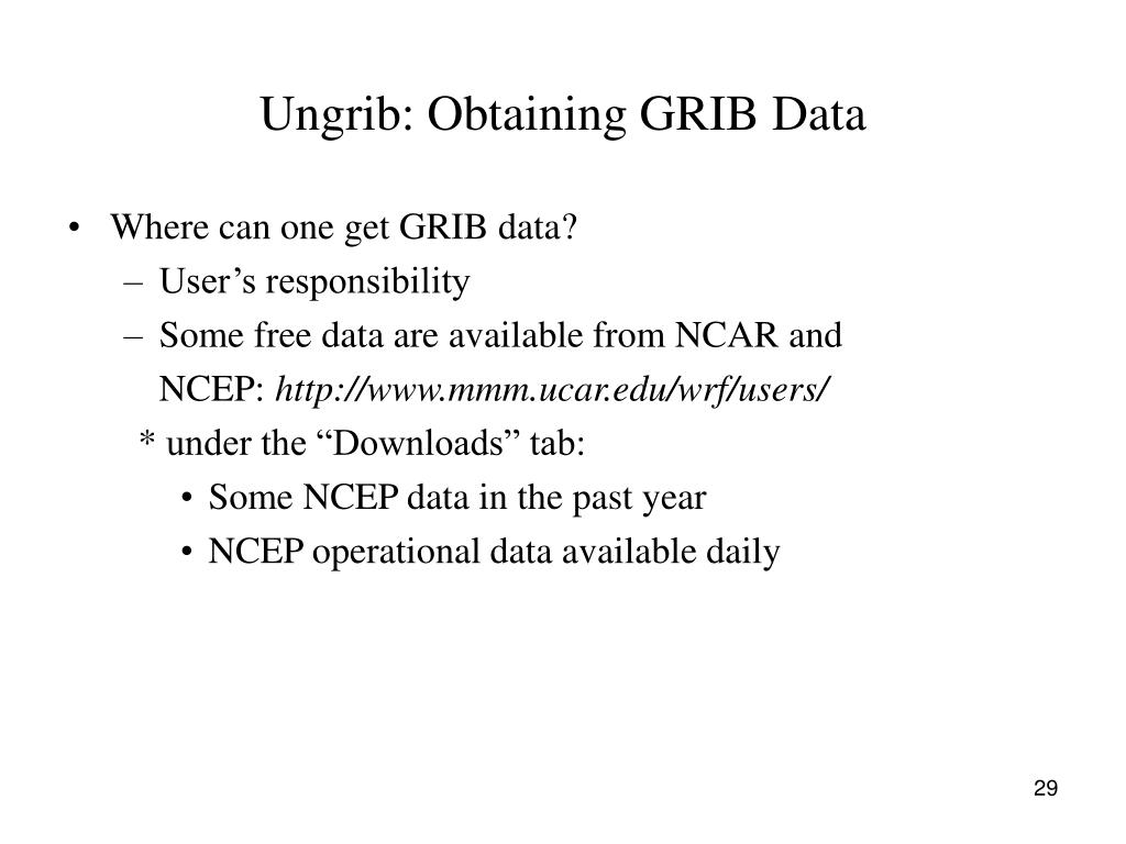 Ungrib: Obtaining GRIB Data