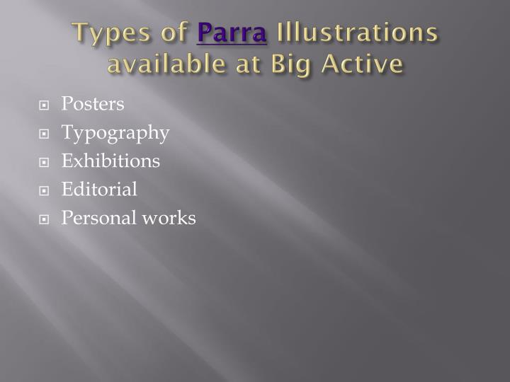 Types of parra illustrations available at big active