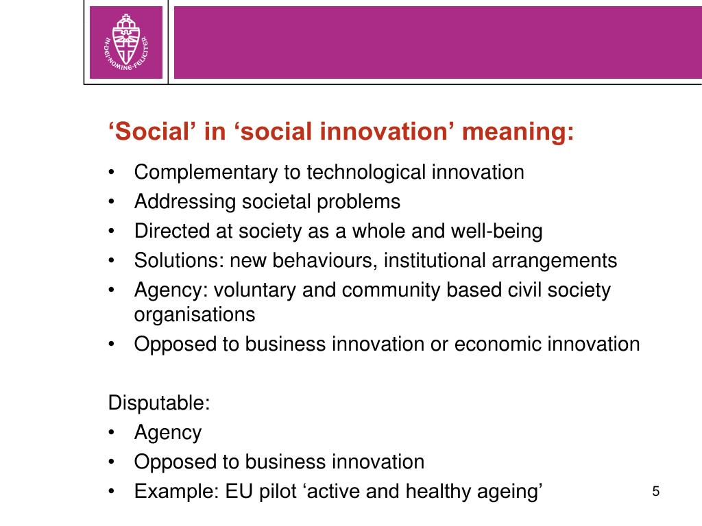 'Social' in 'social innovation' meaning: