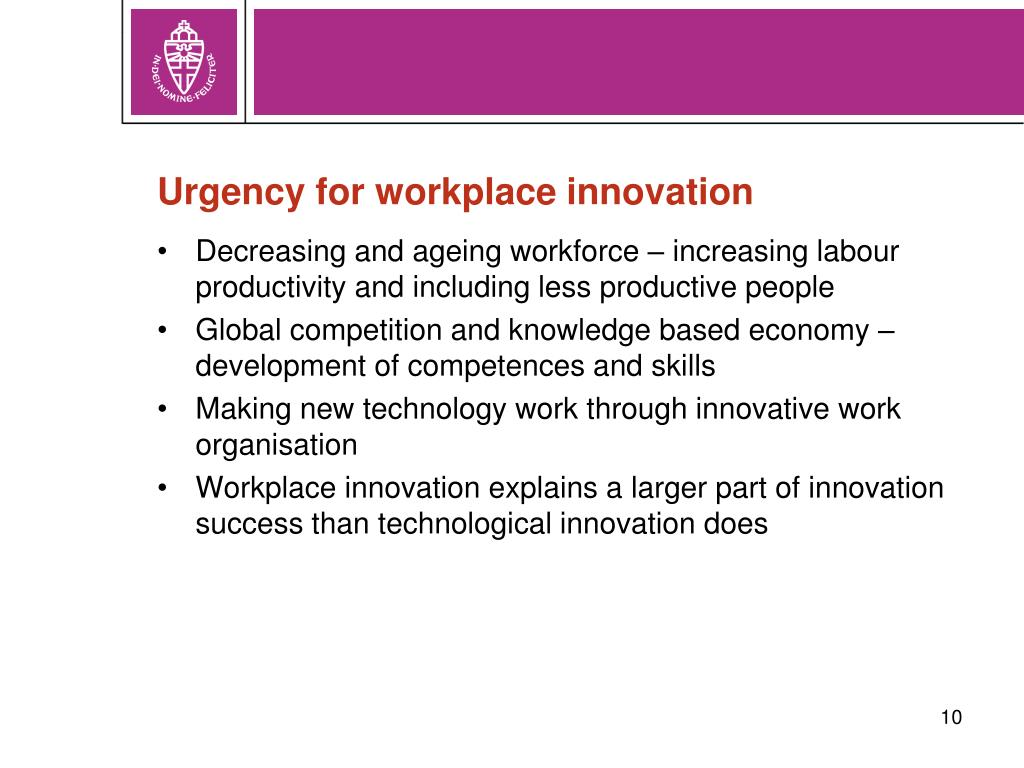 Urgency for workplace innovation