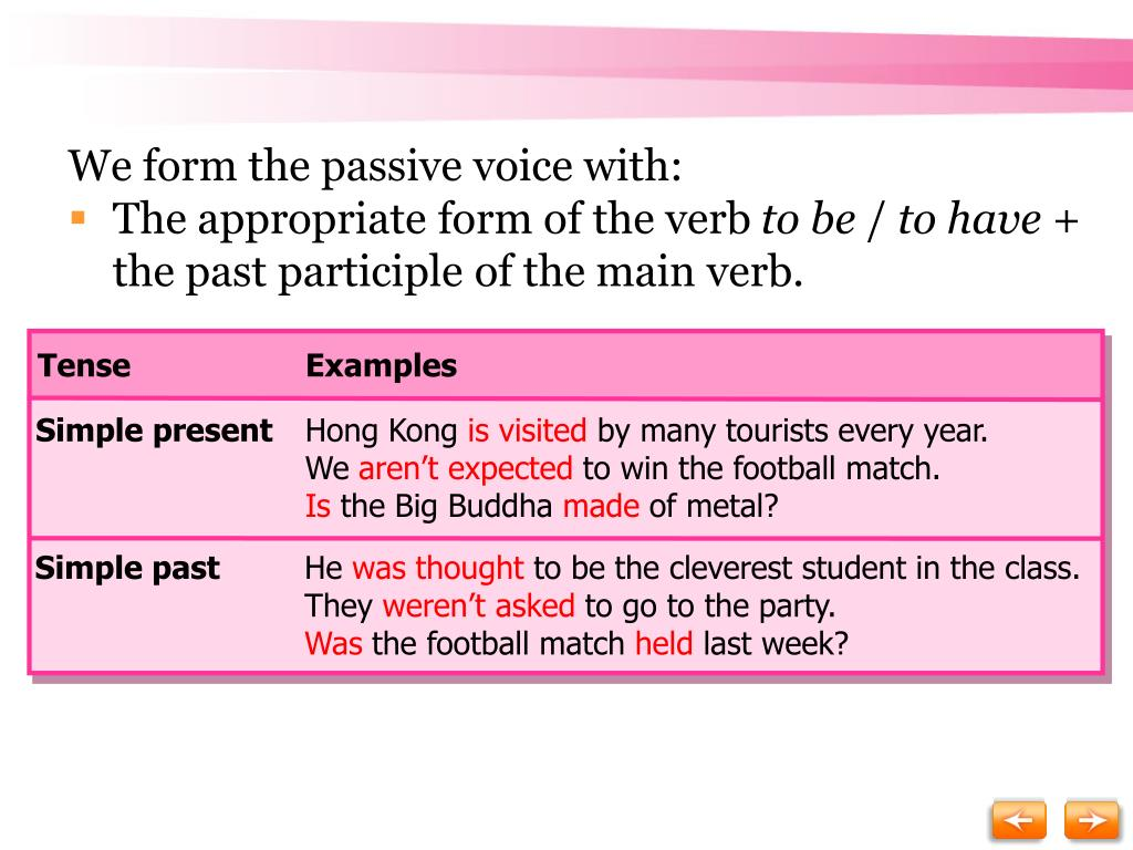 We form the passive voice with: