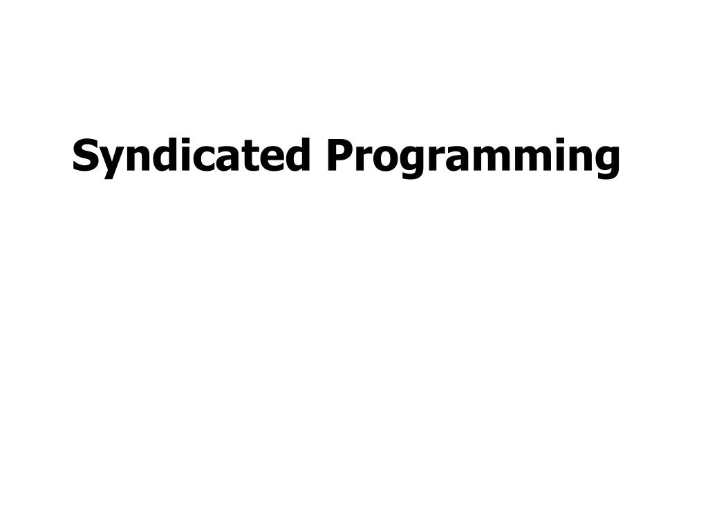 Syndicated Programming