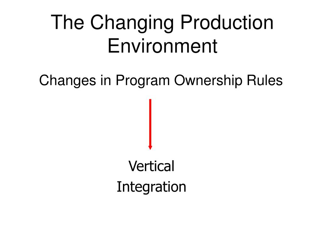 The Changing Production Environment
