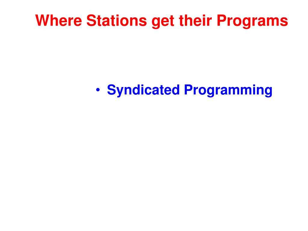 Where Stations get their Programs