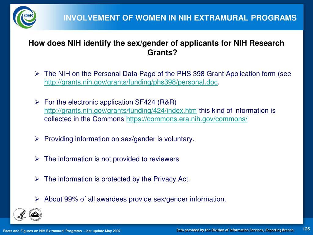 INVOLVEMENT OF WOMEN IN NIH EXTRAMURAL PROGRAMS