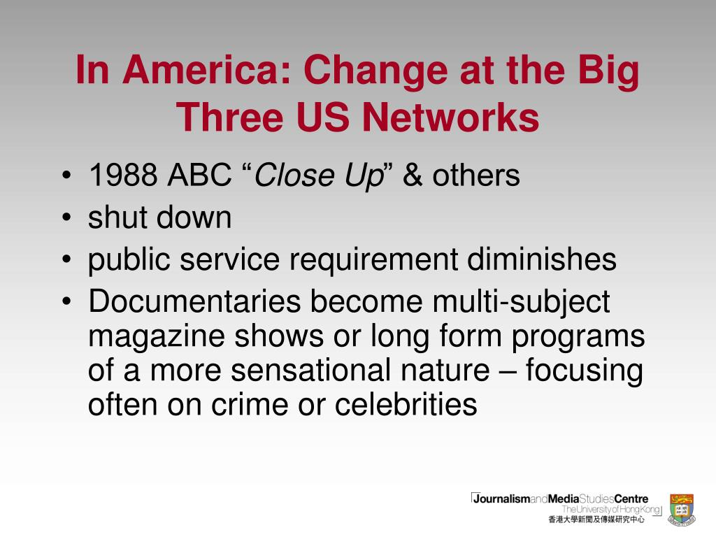 In America: Change at the Big Three US Networks