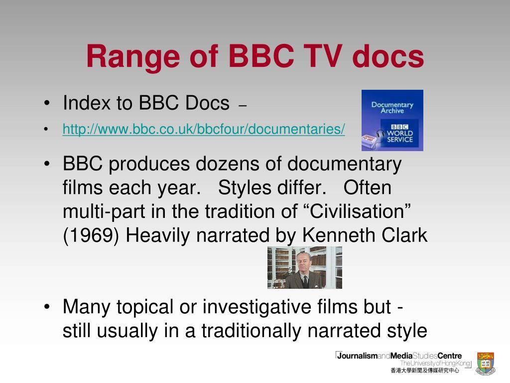 Range of BBC TV docs