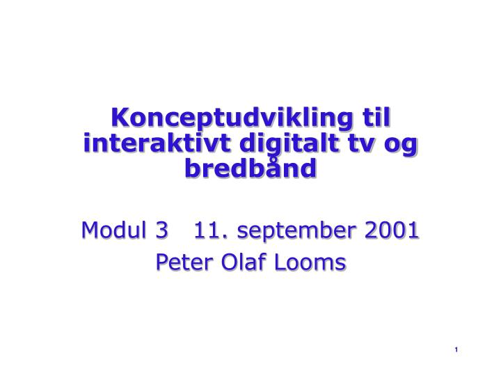 Konceptudvikling til interaktivt digitalt tv og bredb nd