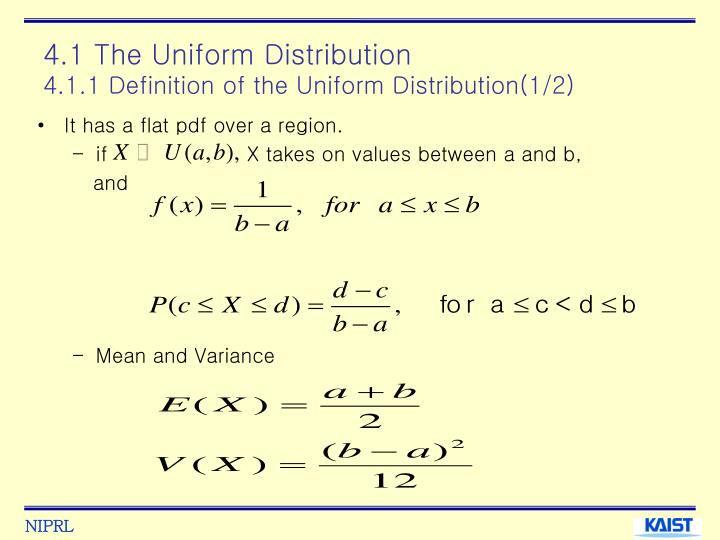 4 1 the uniform distribution 4 1 1 definition of the uniform distribution 1 2