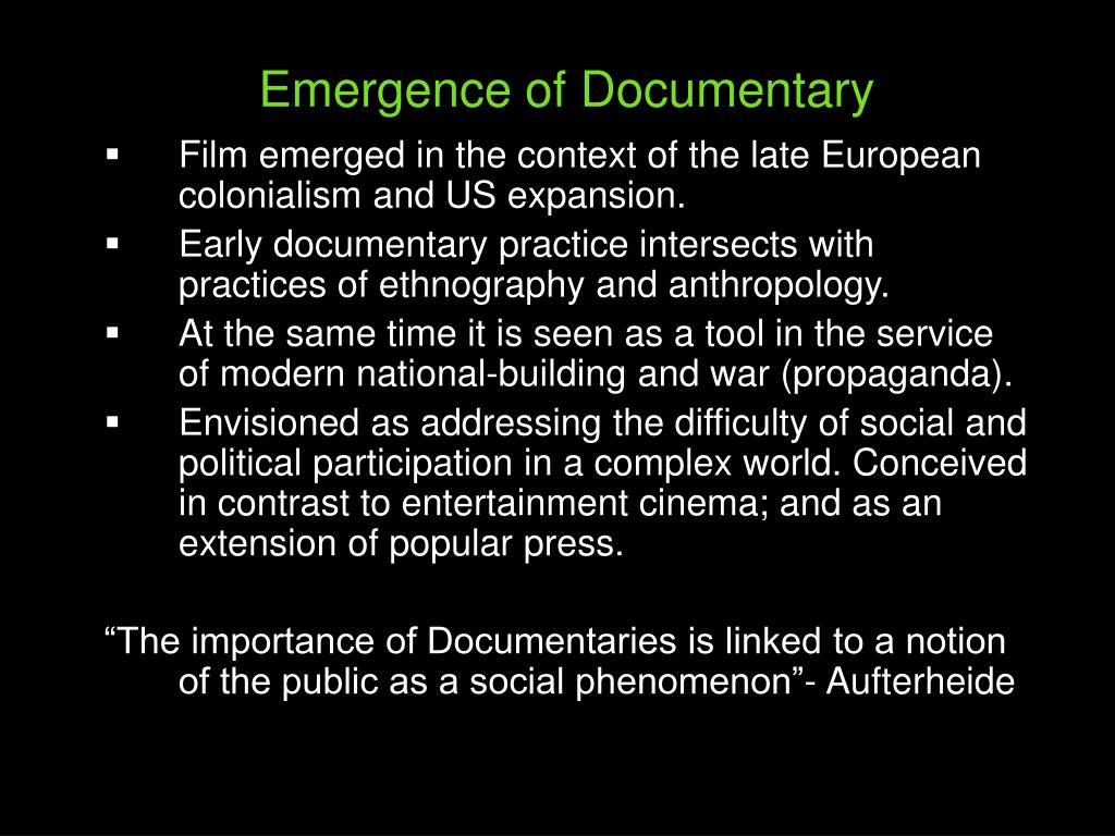 Emergence of Documentary