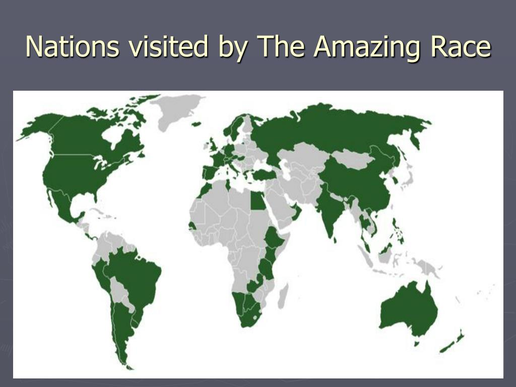 Nations visited by The Amazing Race