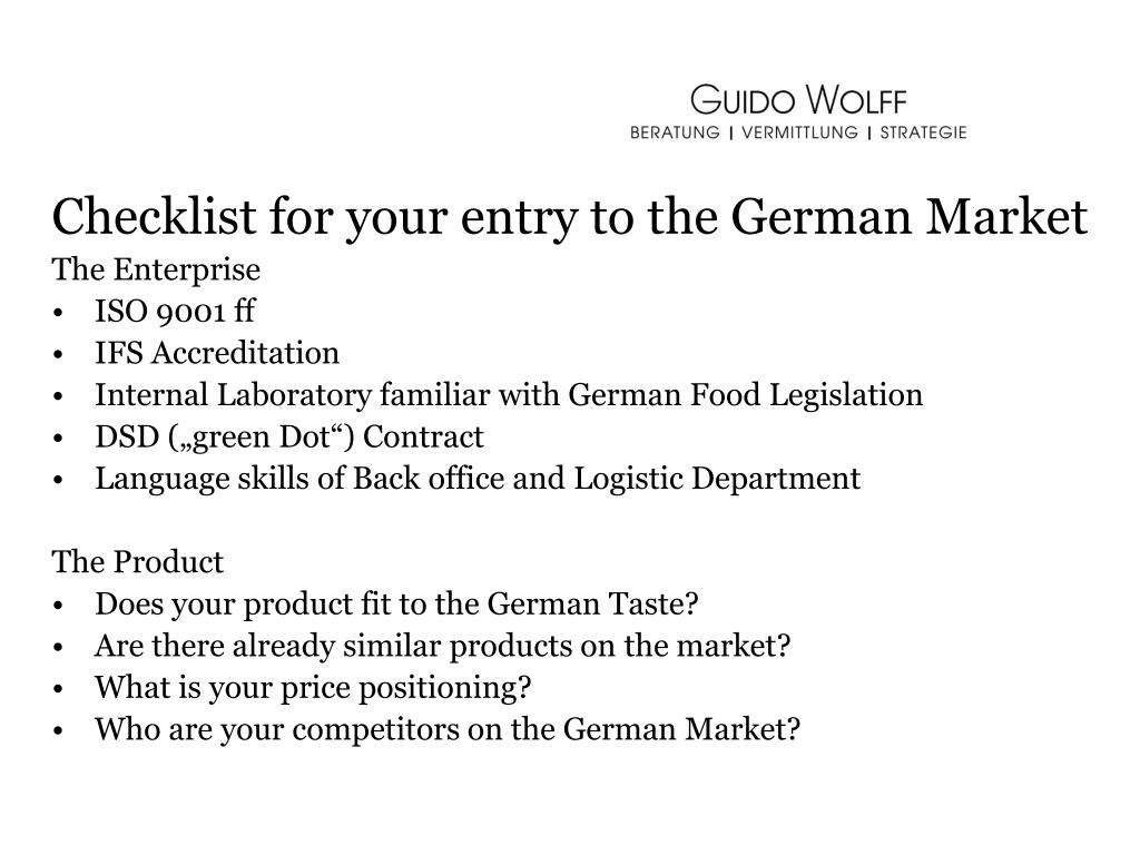 Checklist for your entry to the German Market