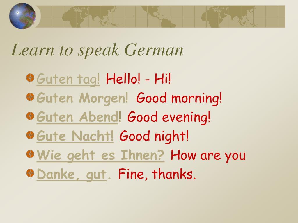 Learn to speak German