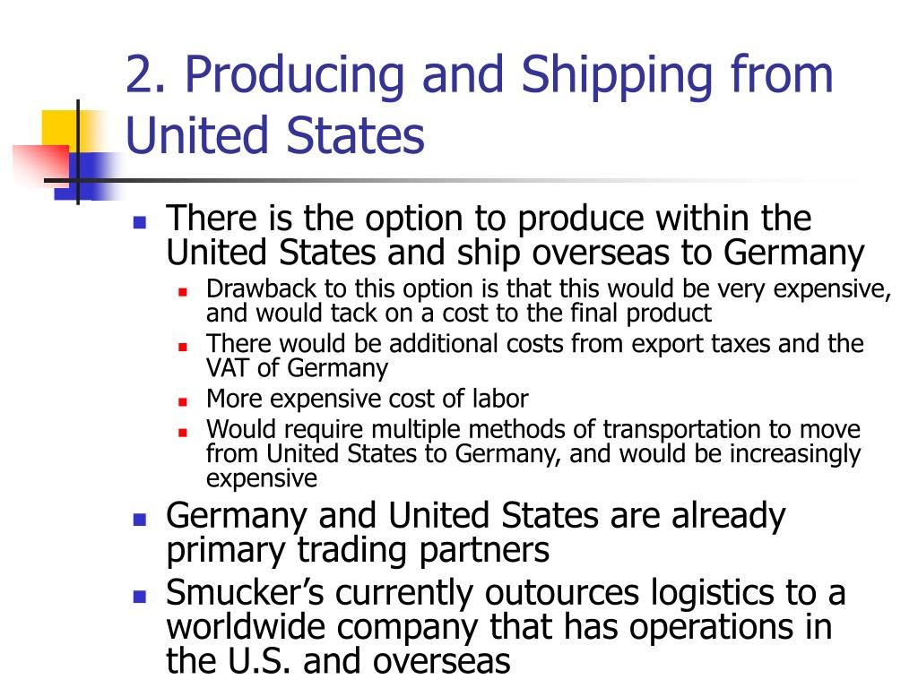 2. Producing and Shipping from United States