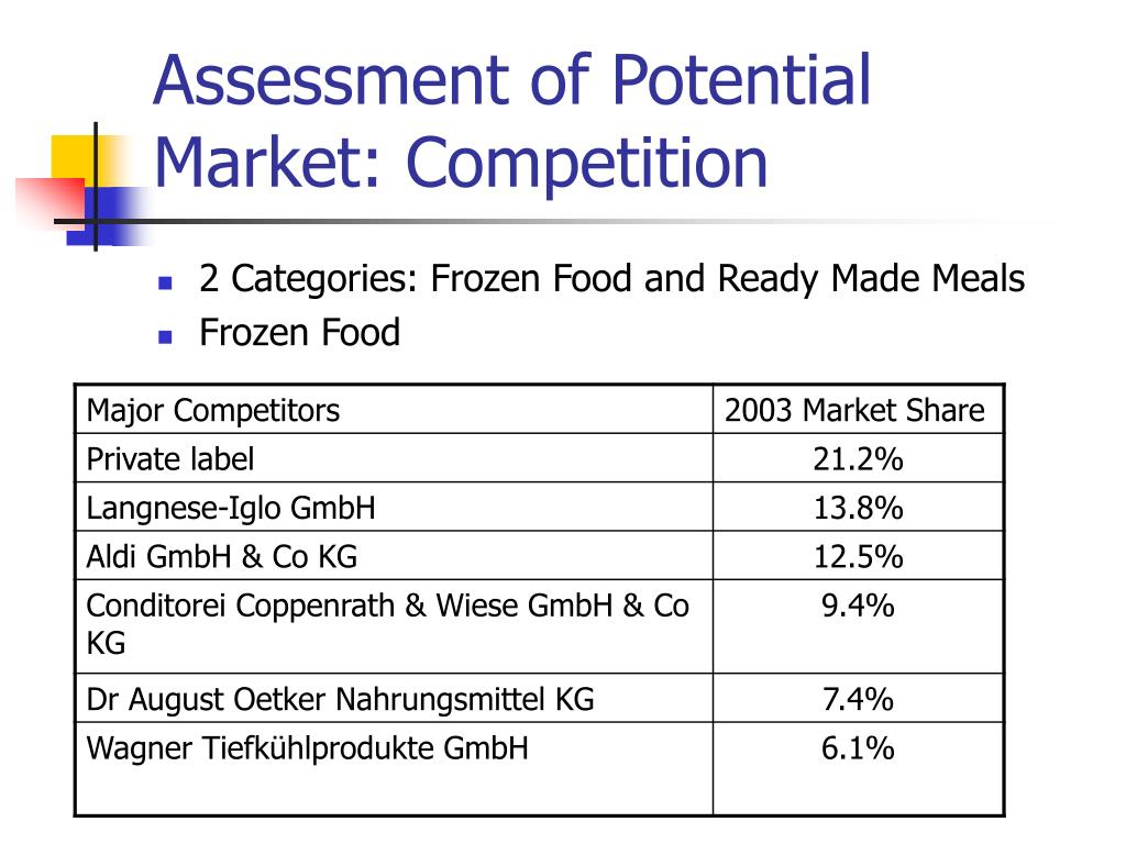 Assessment of Potential Market: Competition