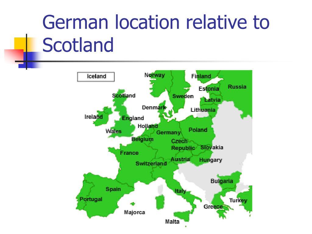 German location relative to Scotland