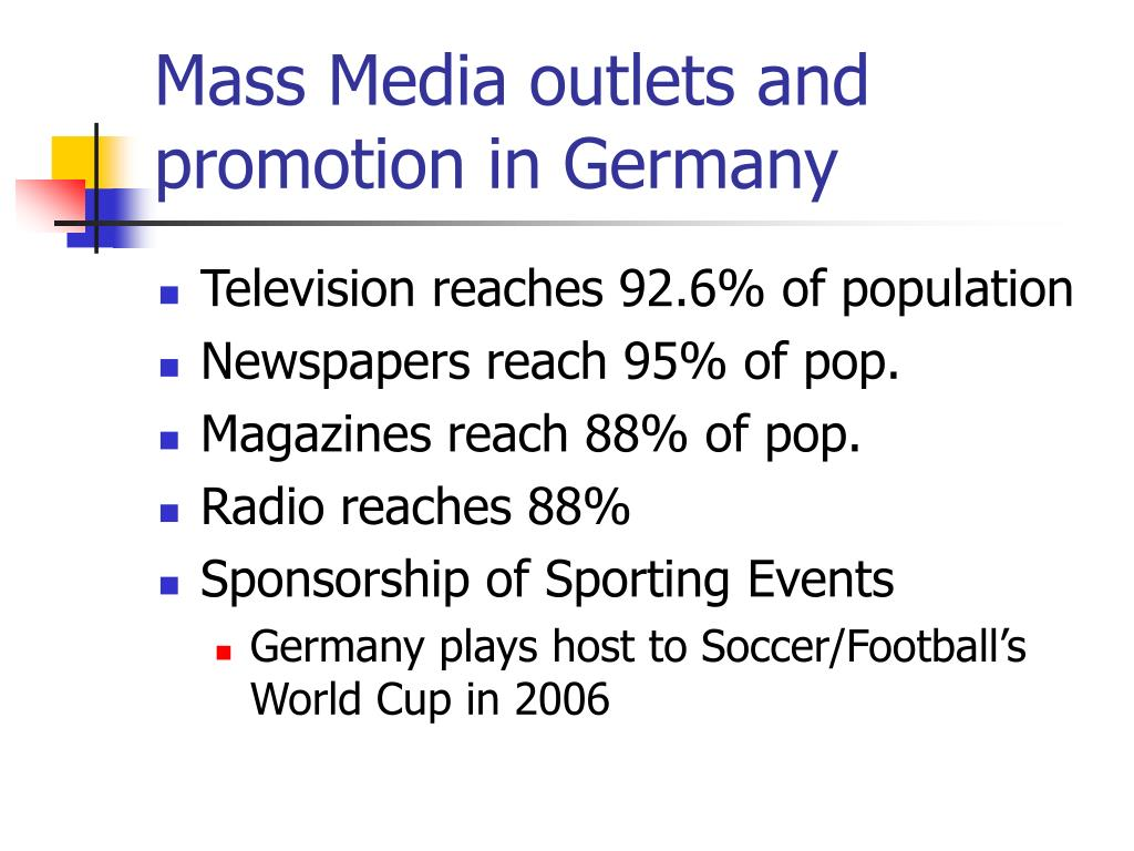 Mass Media outlets and promotion in Germany