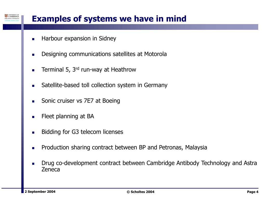 Examples of systems we have in mind