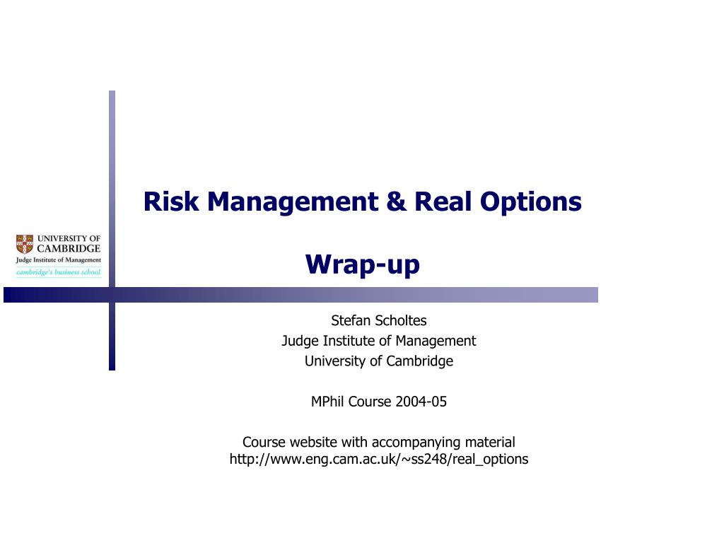 Risk Management & Real Options