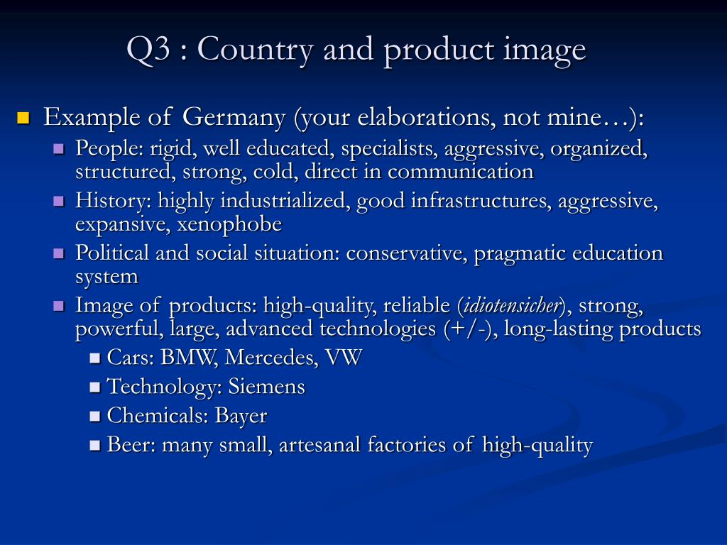 Q3 : Country and product image