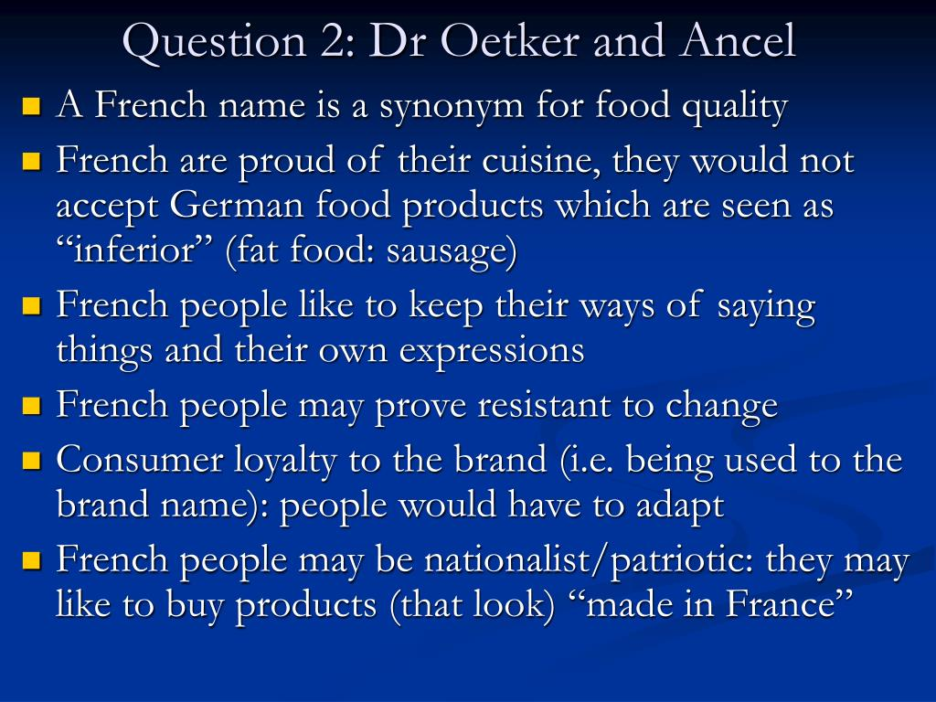 Question 2: Dr Oetker and Ancel