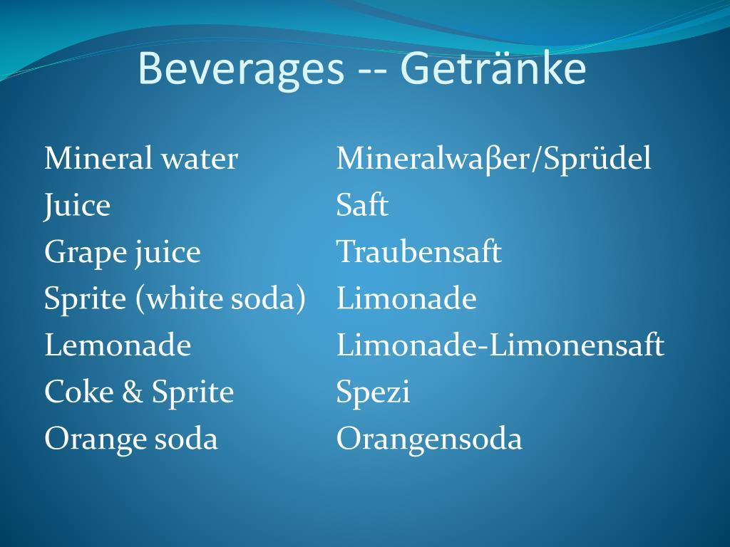 Beverages -- Getränke