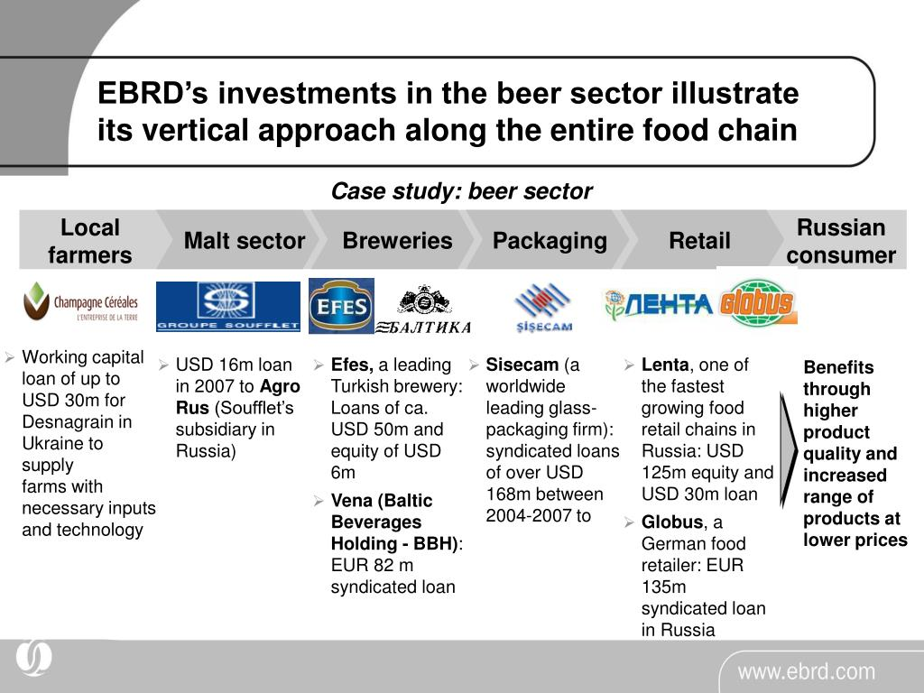 EBRD's investments in the beer sector illustrate its vertical approach along the entire food chain