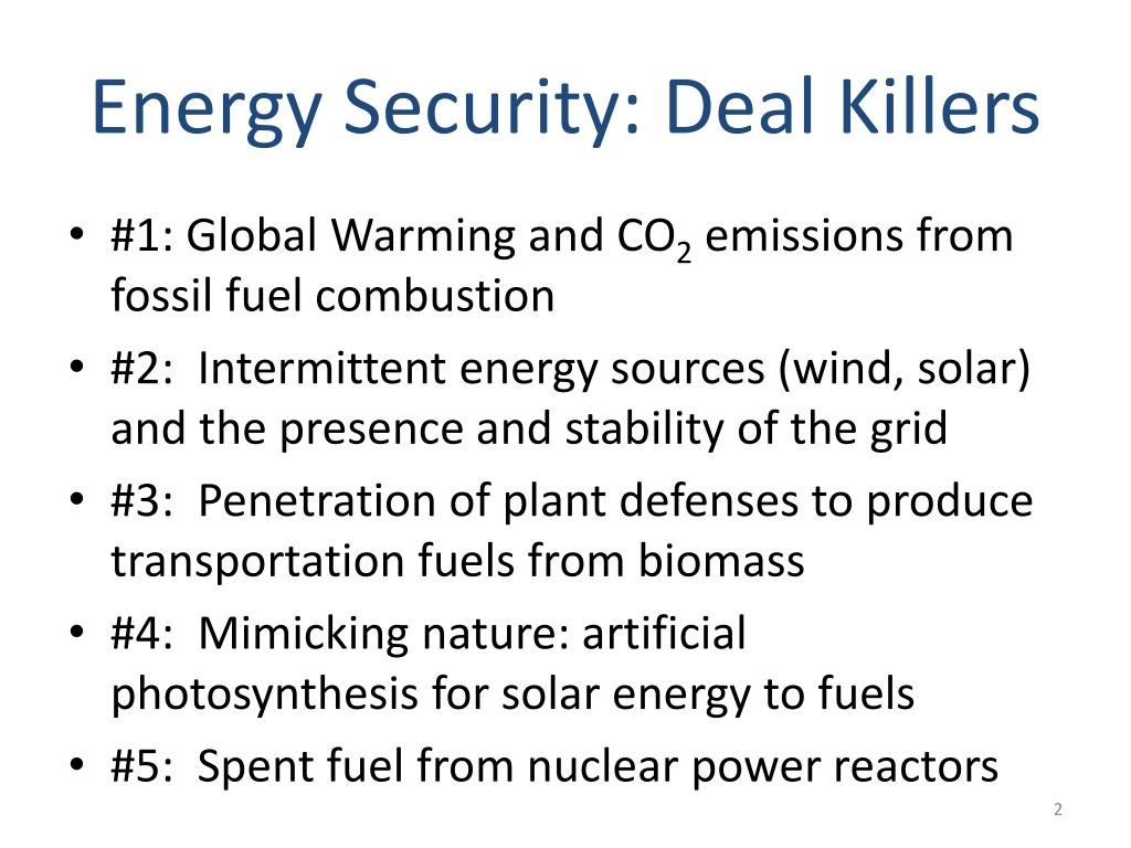 Energy Security: Deal Killers