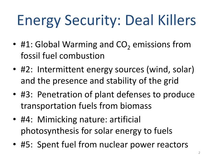 Energy security deal killers