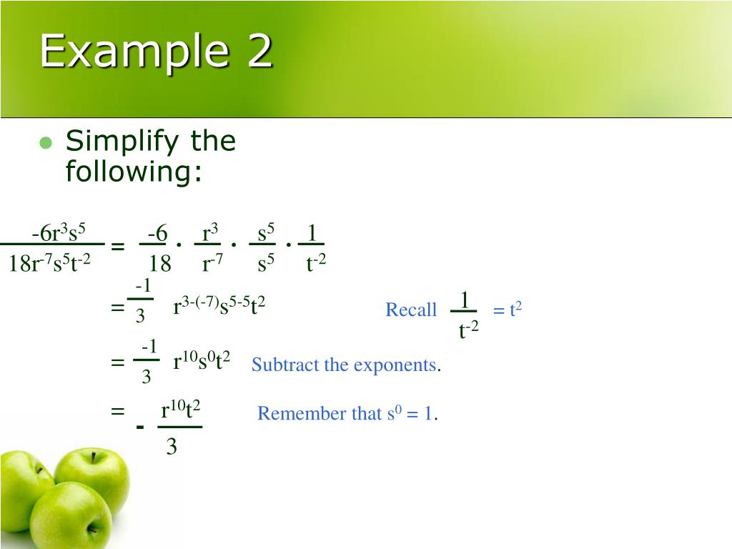 Simplify the following: