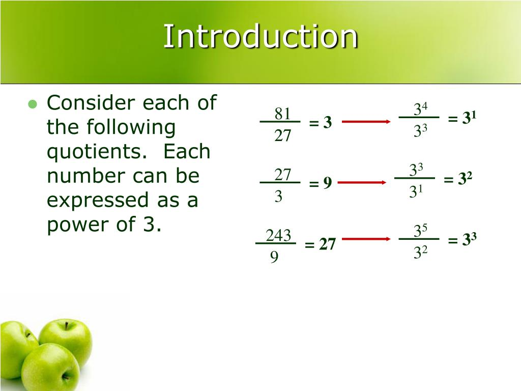 Consider each of the following quotients.  Each number can be expressed as a power of 3.