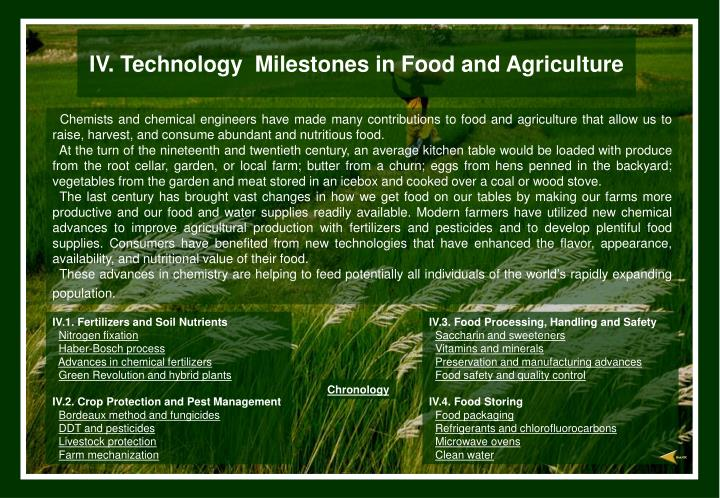 Iv technology milestones in food and agriculture l.jpg