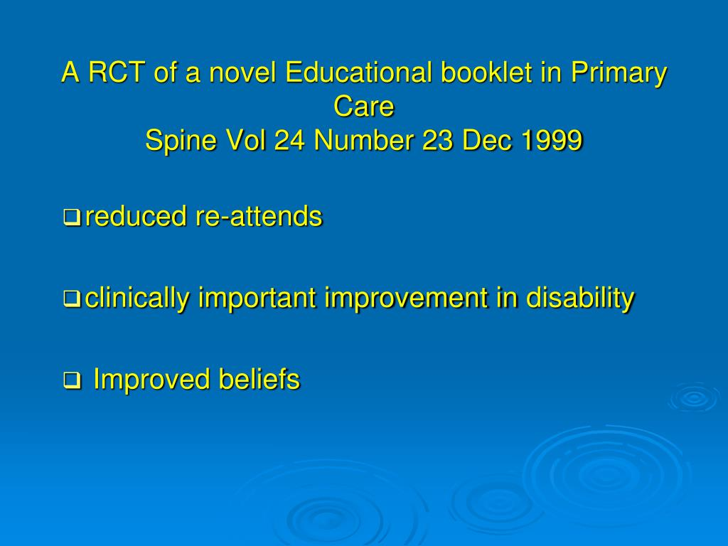 A RCT of a novel Educational booklet in Primary Care
