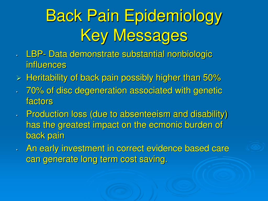 Back Pain Epidemiology