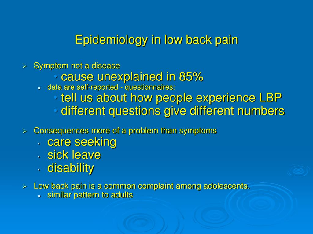 Epidemiology in low back pain