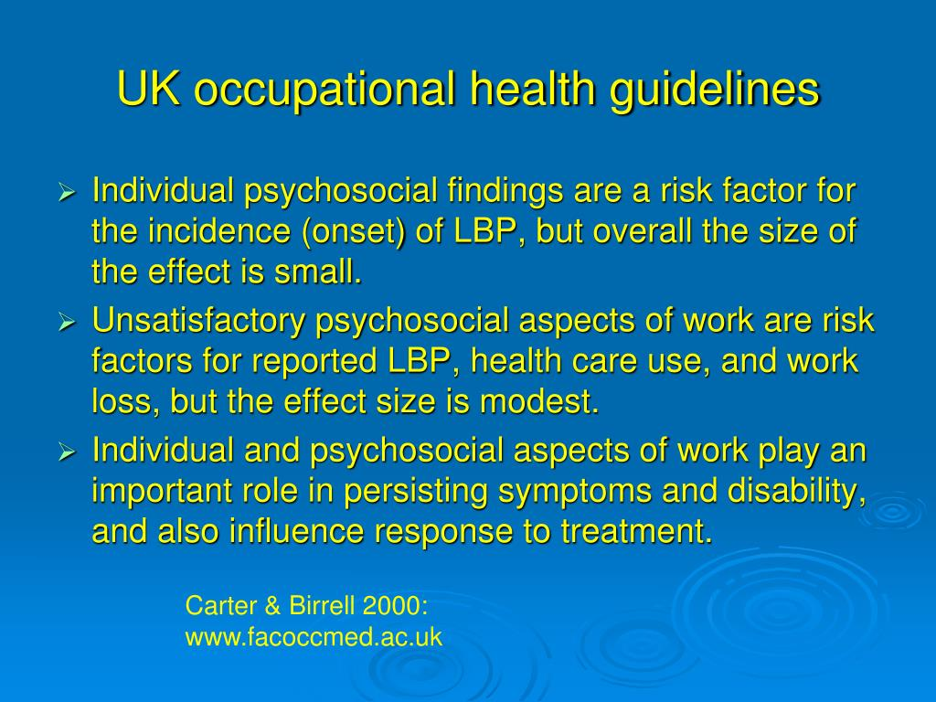 UK occupational health guidelines