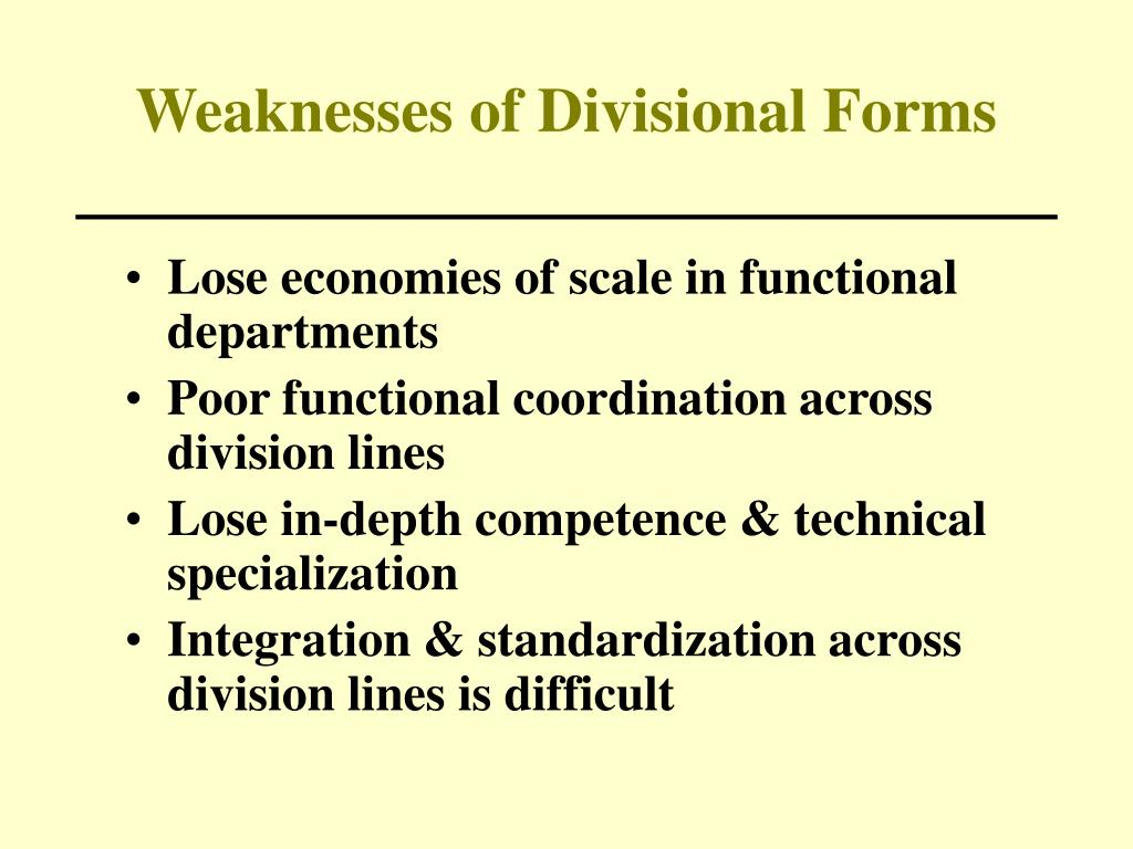 Weaknesses of Divisional Forms