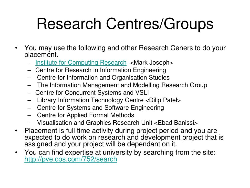 Research Centres/Groups